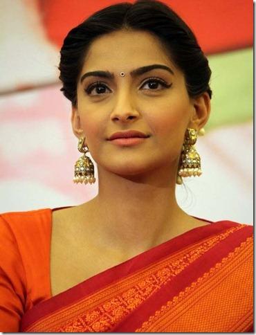 Sonam Kapoor Latest Hot stills in saree at Raanjhnaa Pressmeet