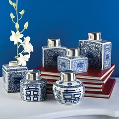 set of six blue and white canton tea jars