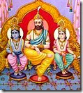 Dasharatha with Lakshmana and Rama