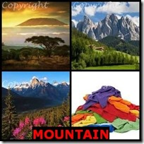 MOUNTAIN- 4 Pics 1 Word Answers 3 Letters