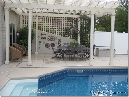 Pergola, Iron, swimming pool, lattice