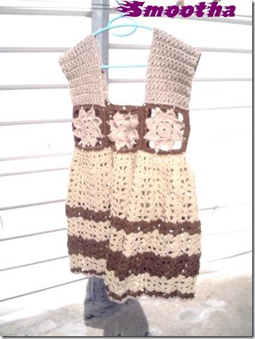 Vestido de crochet castanho e beje (7)