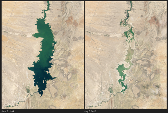 Elephant Butte Reservoir dwindled to its lowest level in 41 years during the summer of 2013, despite monsoon rains in early July. It had been filled nearly to capacity for most of 1985 to 2000; the left-hand image from 1994 shows it about 89 percent full. At right, on 8 July 2013, it has been reduced to about 3 percent. Photo: NASA