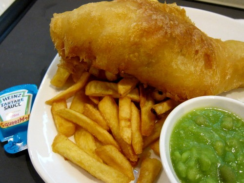 Line caught east atlantic cod fillet in batter, mushy peas, chips, tartare sauce