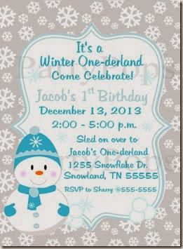 Snowman Blue Invite