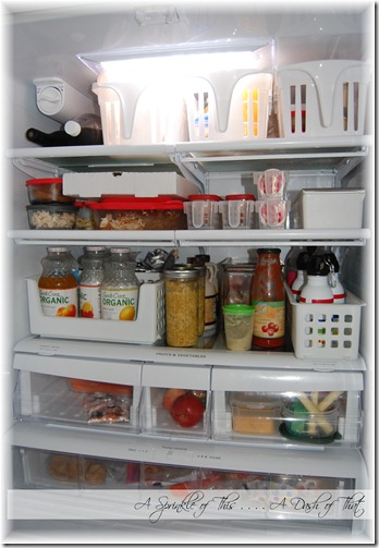 Refriderator after organizatino {A Sprinkle of This . . . . A Dash of That}