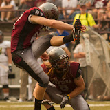 Montana Grizzlies Sam Gratton (8) and Chris Lider (87) successfully kick a field goal following a 2nd quarter touchdown.  Washington-Grizzly Stadium in Missoula, MT, Sept. 22nd, 2012.