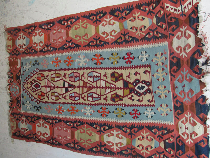 Kilim Powder Blue & Maroon  Rug