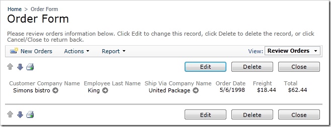 Order Form with hidden custom template