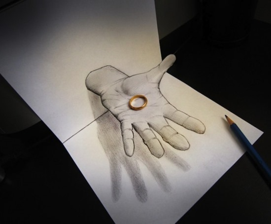 hand anamorophic drawing