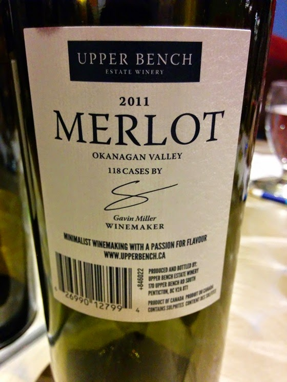 Inaugural vintage of Upper Bench Merlot