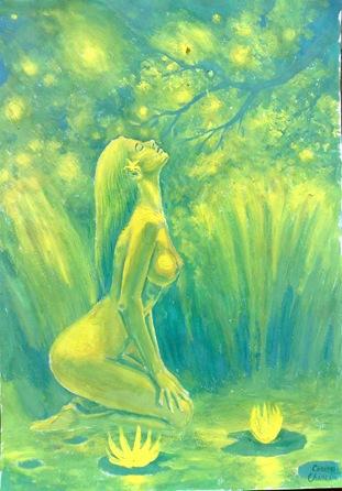 O superba femei goala in lumina verde a padurii pe malul lacului incarcat cu nuferi galbeni privind stelele