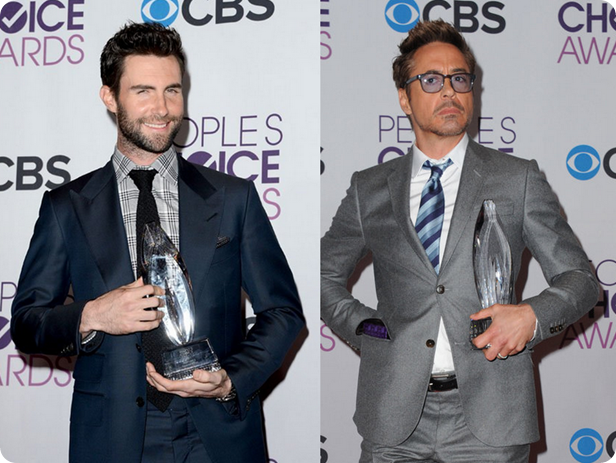 Adam Levine, Robert Downey Jr., lindos, premio, trofeu, pca 2013, peoples choice awards, red carpet, maroon 5, iron man, homem de ferro