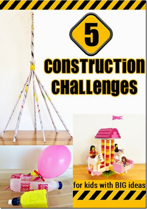 5 construction challenges - Great for helping homeschool kids improve their problem solving and STEM skills.