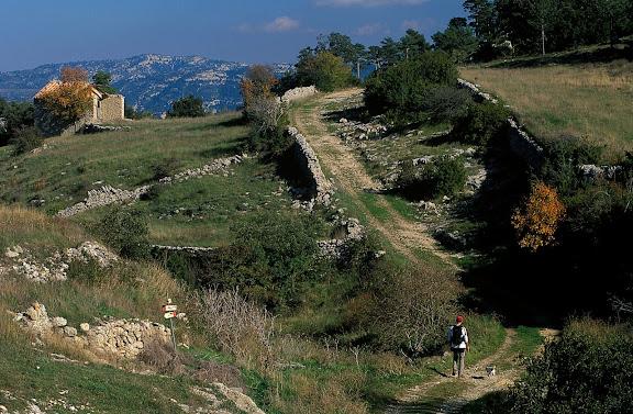Camí de Fredes a la Sènia pel coll de l'Infern. Camí ramader. Vista des del poble Fredes, Castelló