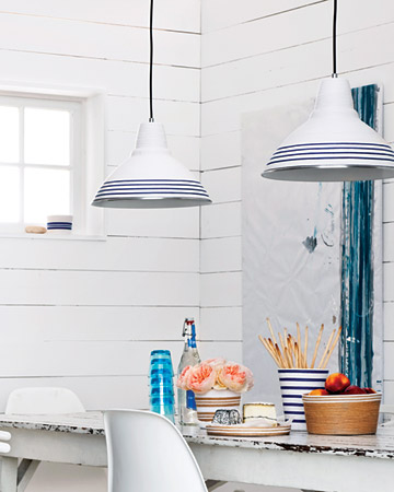 Striped make lampshades stand-out in this all-white kitchen.  (marthastewart.com/how-to/striped-desk-lamp)