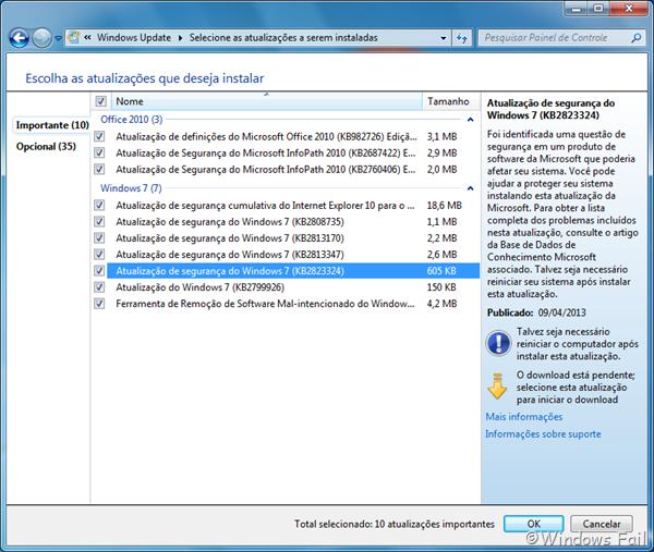 Atualização KB2823324 causa problemas no Windows 7