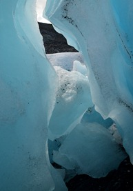 glacial blue inside Worthington Glacier