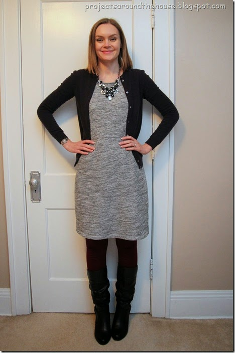 Grey dress, plum cardigan, burgundy tights, tall boots, statement necklace