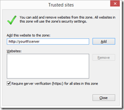 Add TFS server to trusted sites