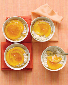 Vanilla Rice Puddings With Glazed Oranges
