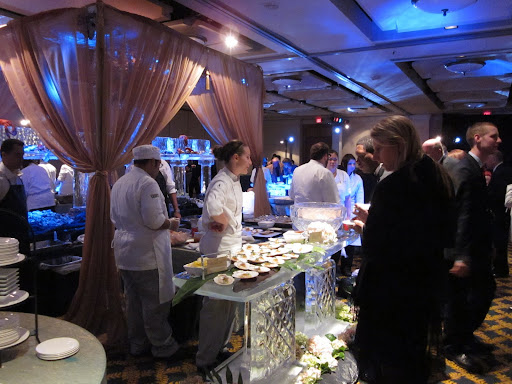 First stop inside the party was a huge raw bar carved in ice that Emeril's chefs had stocked with loads of fresh seafood from the Gulf and beyond.