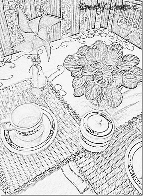 tovagliette e vasetti con tappetino di plastica