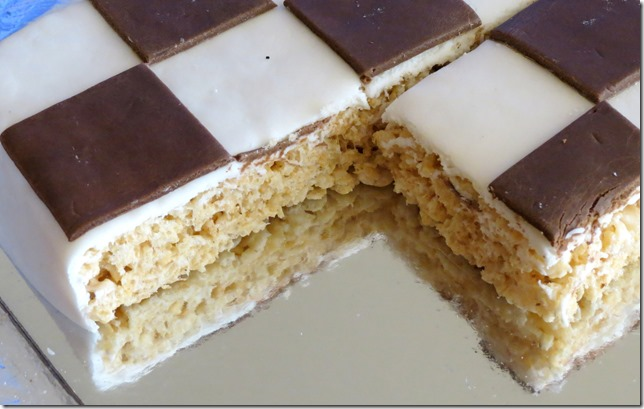 Sliced Chess Game Board Rice Krispies Treat Cake