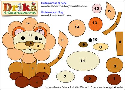 Patchwork Moldes Leão em Patch Aplique Drika Artesanato