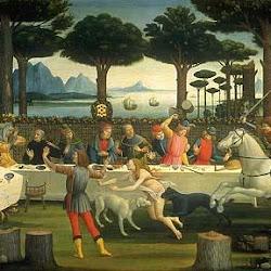 61 - Botticelli - Tabla de la historia de Nastaggio degli Honesti 1