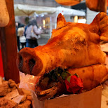 porky pig at the christmas market in Milan, Milano, Italy