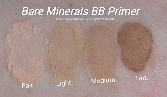 bareMinerals Prime Time BB Cream Primer SPF 30; Review & Swatches of Shades Fair, Light, Medium, Tan