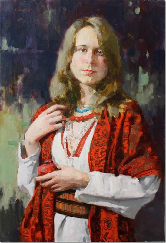 Portrait of a girl with a pomegranate-Vadim-Suvorov-ENKAUSTIKOS