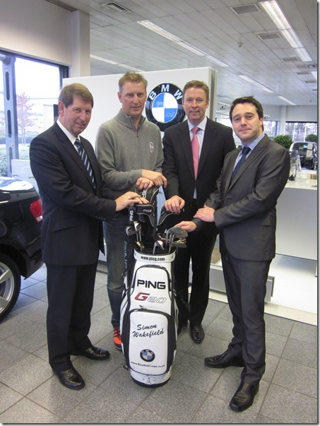 Blue Bell Crewe Dealer Principal Barry Holt, Pro golfer Simon Wakefield, Blue Bell Sales Executive Anthony Preston and Service Manager Phil Smith 2