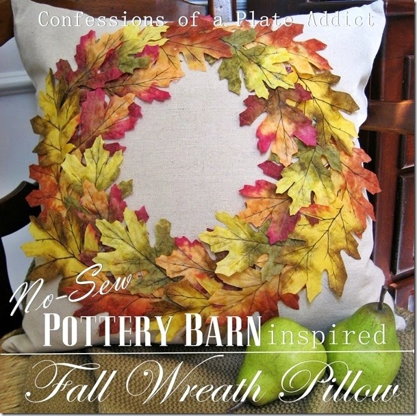 CONFESSIONS OF A PLATE ADDICT No-Sew Pottery Barn Inspired Fall Wreath Pillow