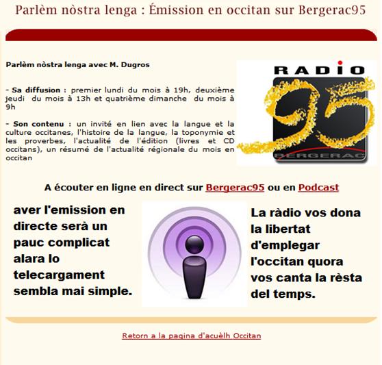 Bergerac 95 emission en occitan