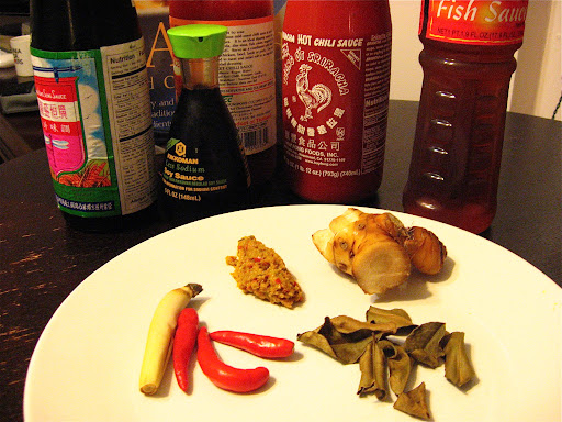Some of the ingredients we used: hot and sweet chili sauce, a dark soy sauce, fish and regular soy sauce. On the plate (clockwise from left): small red chiles, lemongrass, our homemade curry paste, galangal, and dried kaffir lime leaves.