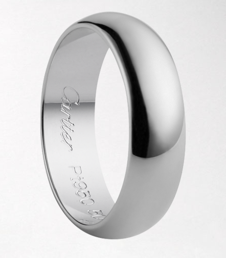 The best rings, like the best love stories, are timeless. This platinum band by Cartier certainly fits that bill.