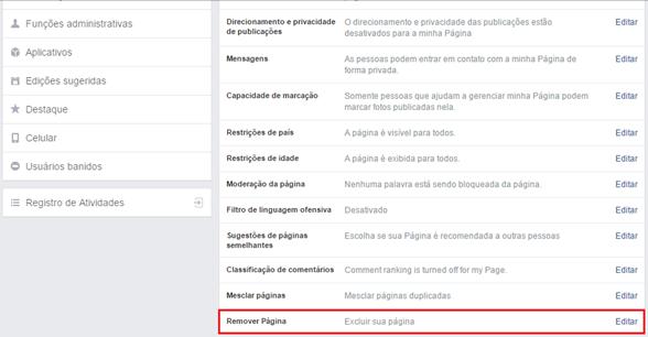 Clique em Remover Página - Facebook