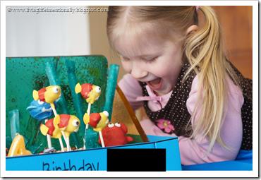 the birthday girl LOVED her cake