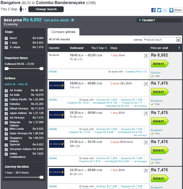Skyscanner Filtering Options