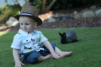 Posing on the grass with a rabbit