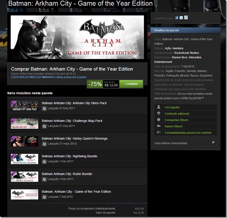 Promoção Steam - Batman: Arkham City - Game of the Year Edition