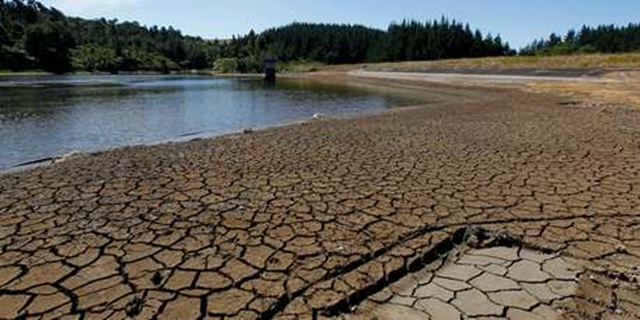 A dried lake bed bakes in the sun during New Zealand's record drought, 22 March 2013. Photo: Christine Cornege