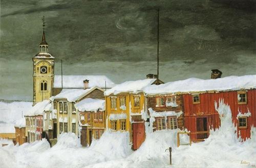 Sohlberg-Etter_snestorm._Lillegaten_Røros