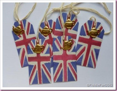 Union Flag Gift tags with teapot