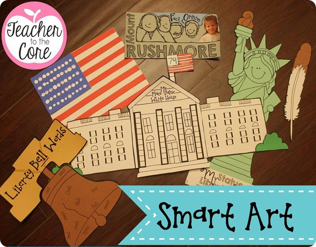 American Symbols SMART ART by Teacher to the Core- Each project has an academic task on it to up the rigor and make your classroom look brilliant and beautiful