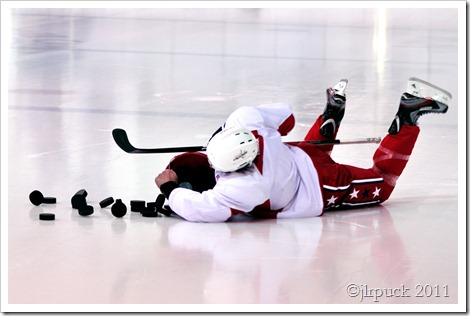 Wiping out with the puck bucket