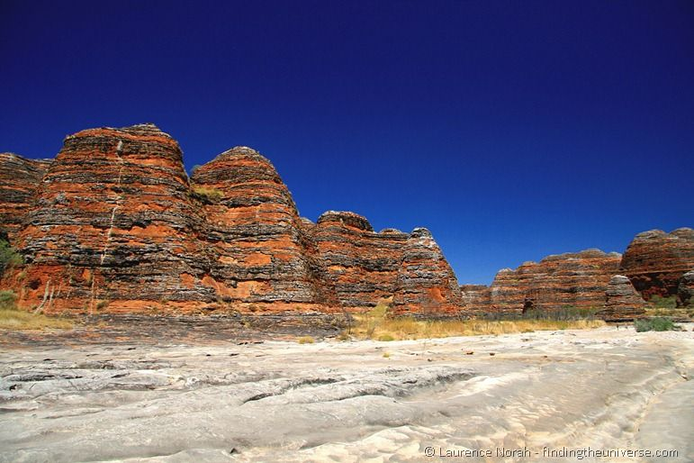 Purnululu bungle bungle rock formation dry river bed