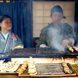 traditional food stand selling meat on a stick at Edo Wonderland in Nikko, Totigi (Tochigi) , Japan